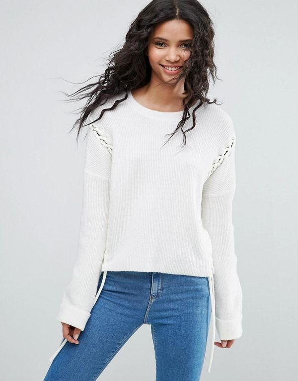Chunky Sweater With Lace Up Seams