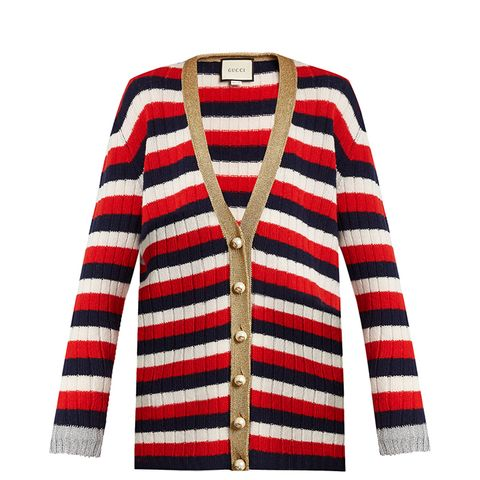 Striped V-Neck Wool and Cashmere-Blend Cardigan
