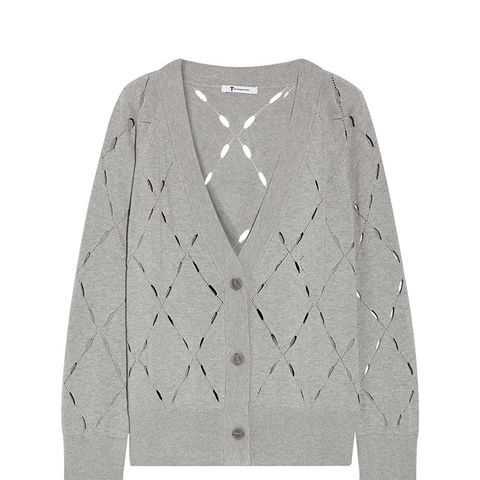 Pointelle-Knit Cotton and Modal-Blend Cardigan