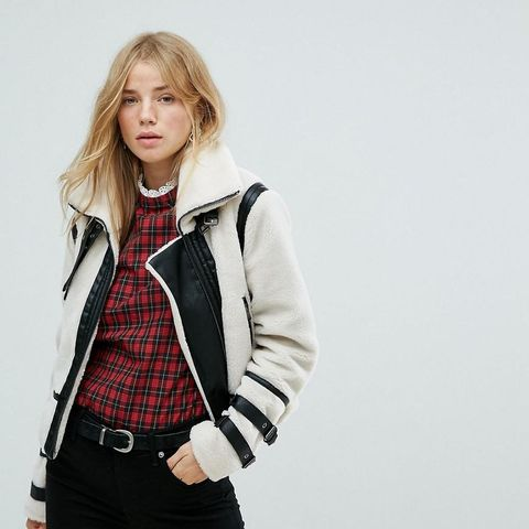 Contrast Shearling Jacket