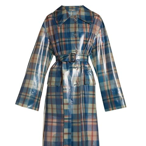 Spread-Collar Tartan Frosted Coat
