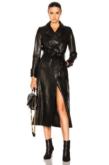 Denim Leather Trench Coat