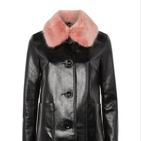 Vinyl Pink Fur Collar Coat