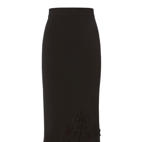 Lace Applique Knit Pencil Skirt