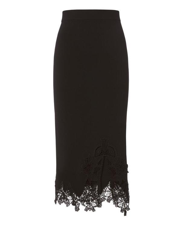 Lace Appliqué Knit Pencil Skirt