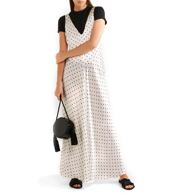 Leclair Open-back Polka-dot Satin Maxi Dress