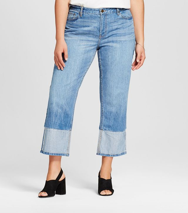 Who What Wear Contrast Cuff Straight Leg Jeans