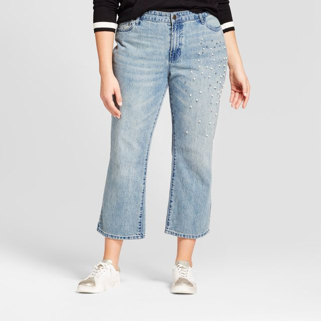 Who What Wear Straight Leg Pearl Embellished Jeans