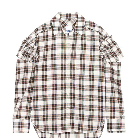 Cutout Ruffled Plaid Flannel Shirt