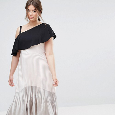 Tonya Pleated Metallic Maxi Dress With Hi Lo Hem