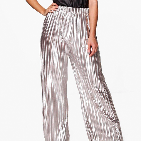 Plus Matilda Silver Premium Pleated Pants