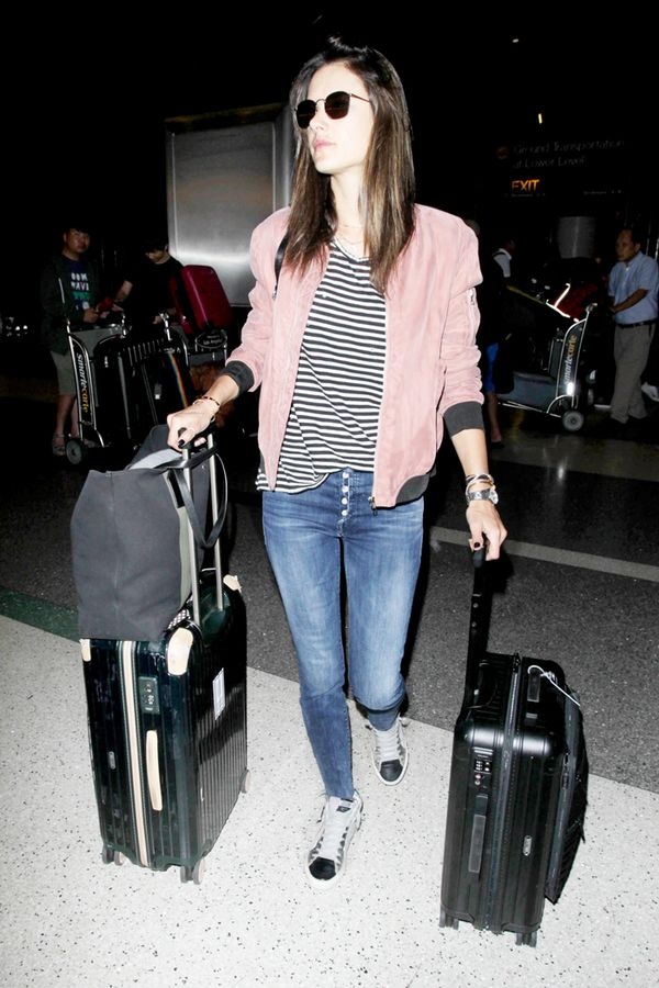 bomber jacket airport style