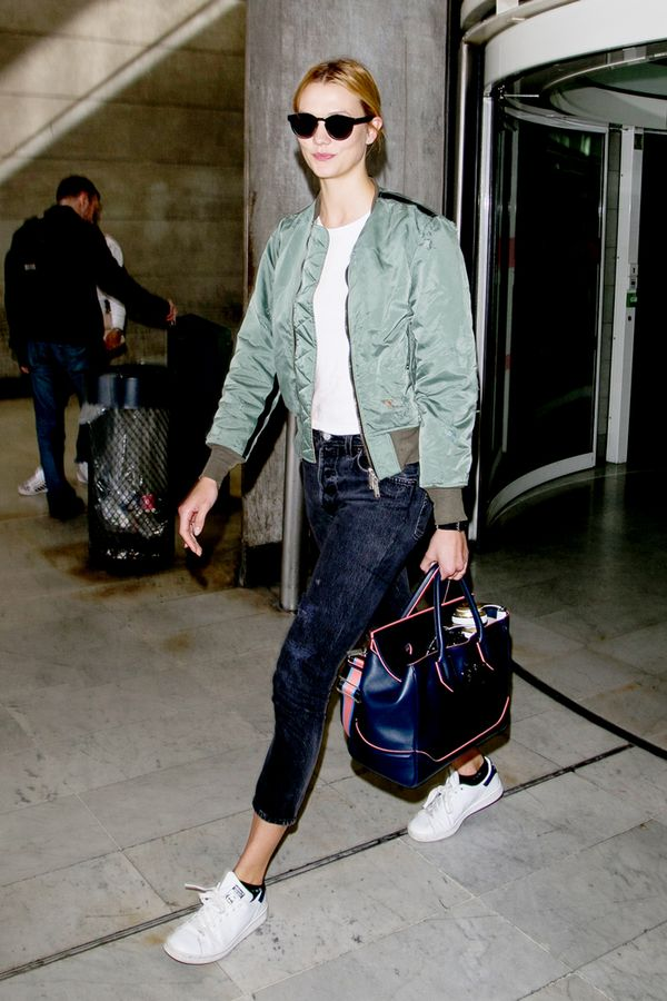 karlie kloss airport bomber jacket