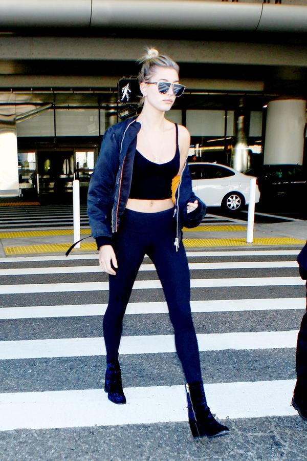 Hailey Baldwin travel jacket