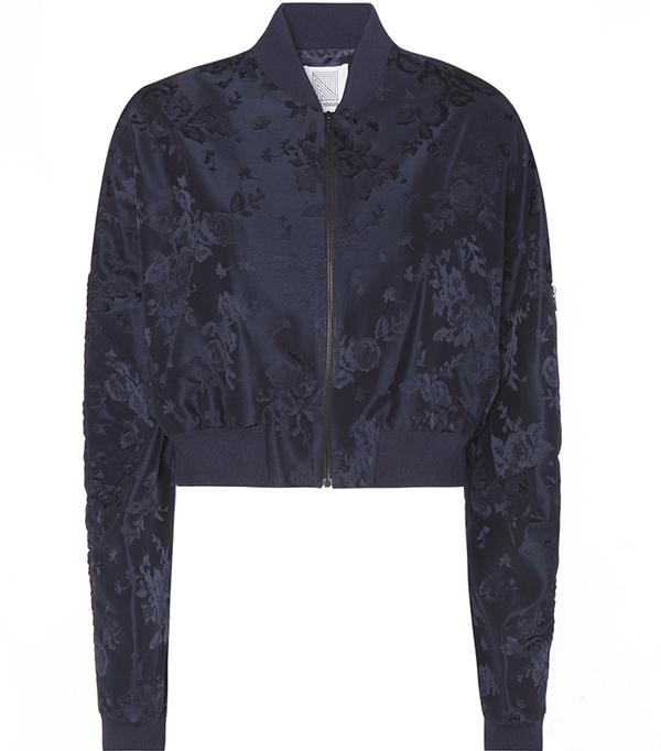 Cropped jacquard bomber jacket