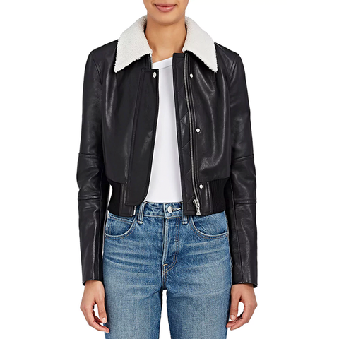 Leather Crop Bomber Jacket