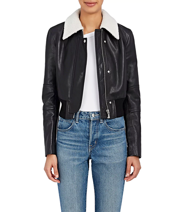 Women's Leather Crop Bomber Jacket