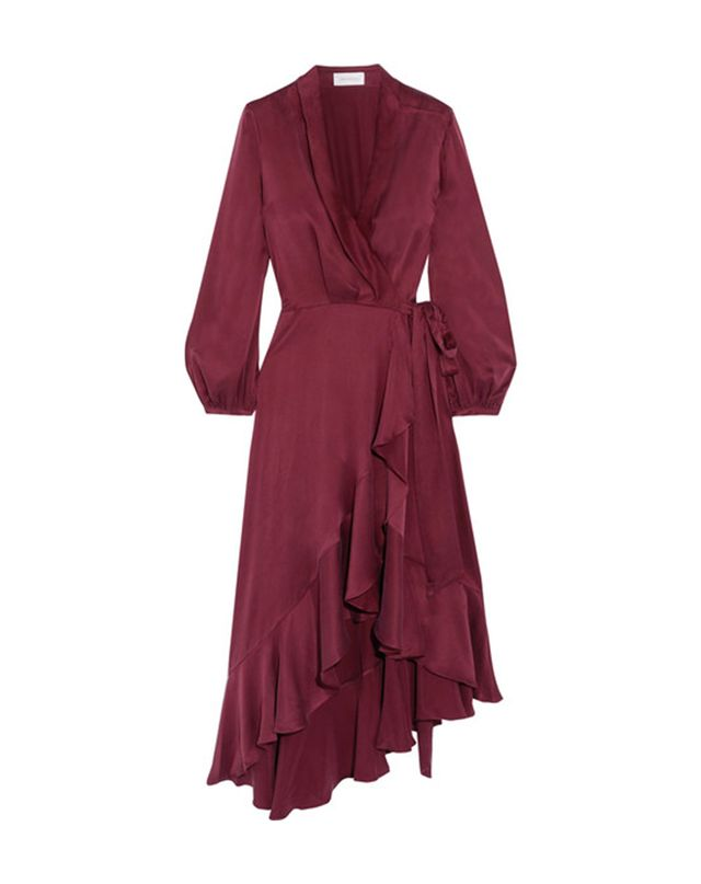 What to Wear When the Wedding Dress Code Is Cocktail Zimmermann Asymmetric Washed-Silk Wrap Midi Dress