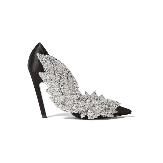Balenciaga Sequin Embellished Satin Pumps