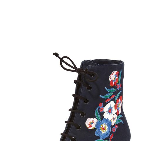 Cassidy 45mm Lace-Up Embroidered Booties
