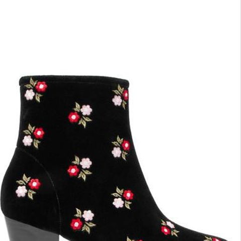 Beatnik Embroidered Cotton-Velvet Ankle Boots