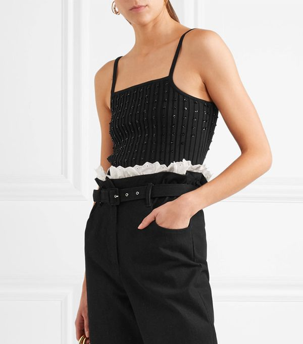 Penelope Cropped Embellished Ribbed Stretch-cotton Top