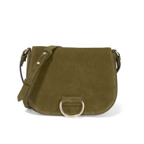 D Saddle Suede Shoulder Bag