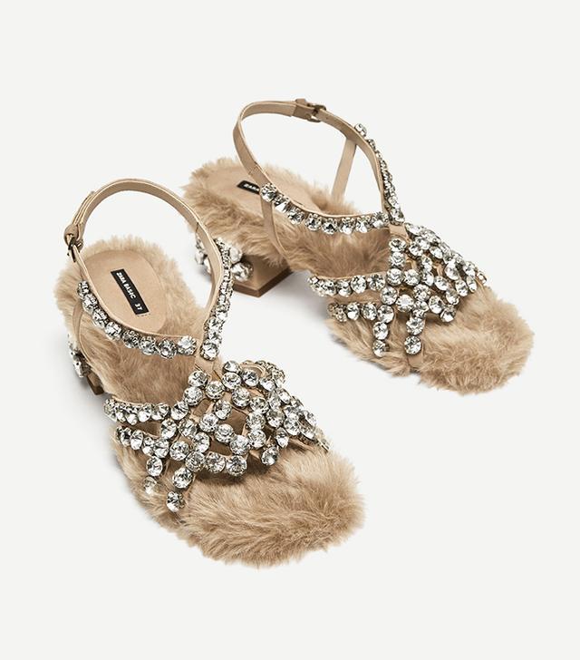 Zara Faux Fur High Heel Sandals With Beads