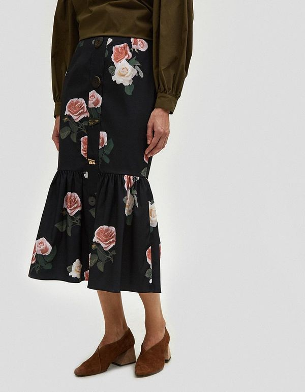 Paula Buttoned Ruffle Hem Skirt