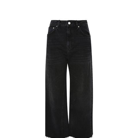 Washed Black Wide Leg Jeans