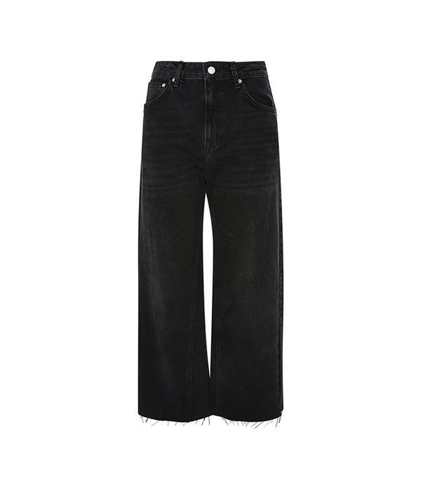 MOTO Washed Black Wide Leg Jeans