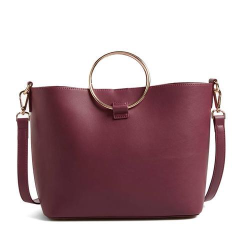 Metal Handle Faux-Leather Crossbody Bag