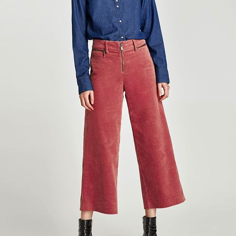 Corduroy Wide-Leg Trousers