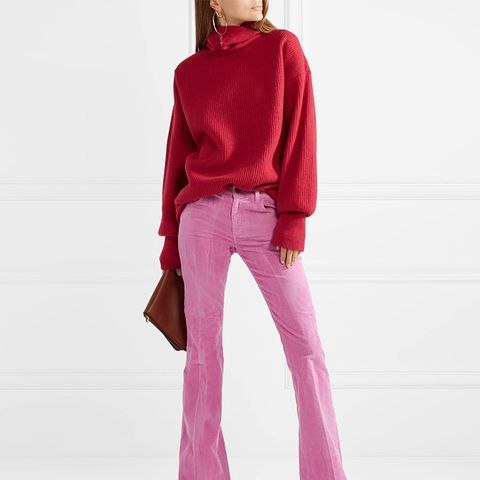 Cotton-Blend Corduroy Flared Pants