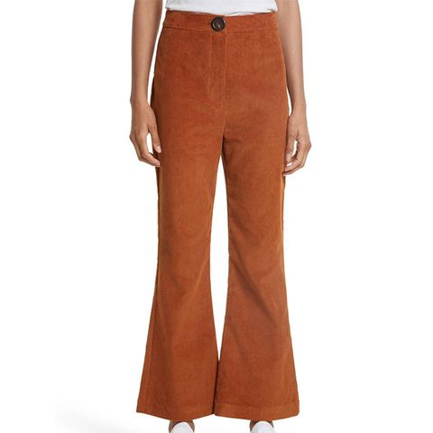 Crop Flare Corduroy Trousers