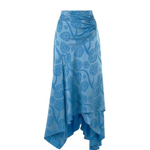 Satin Jacquard Wrap Skirt