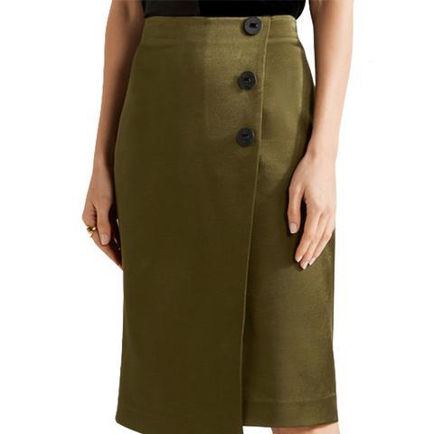 Malliah Satin-Twill Wrap-Effect Skirt
