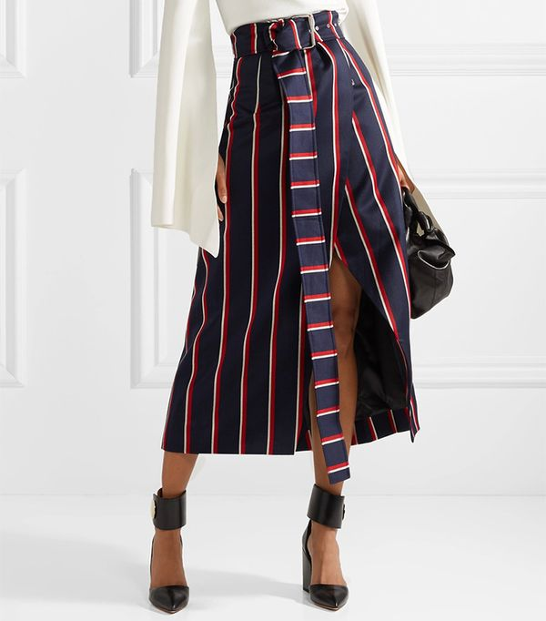 Apolline Striped Wool And Cotton-blend Twill Wrap Skirt