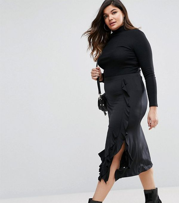 ASOS CURVE Midi Skirt with Side Ruffle