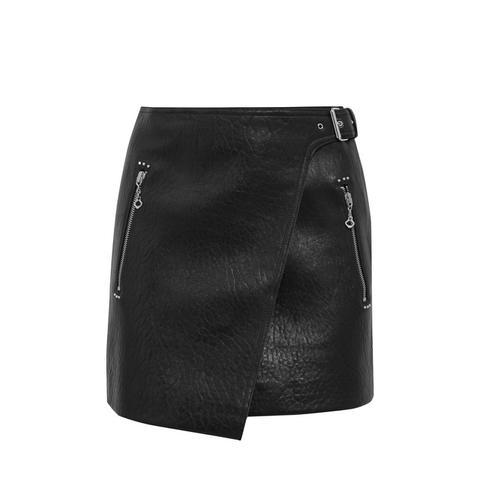 Kakili Textured-Leather Mini Wrap Skirt