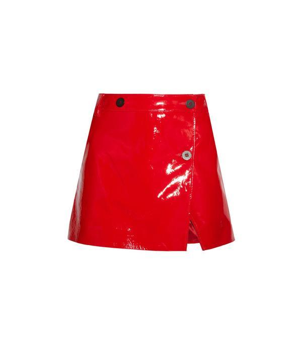 Patent-leather Wrap Mini Skirt