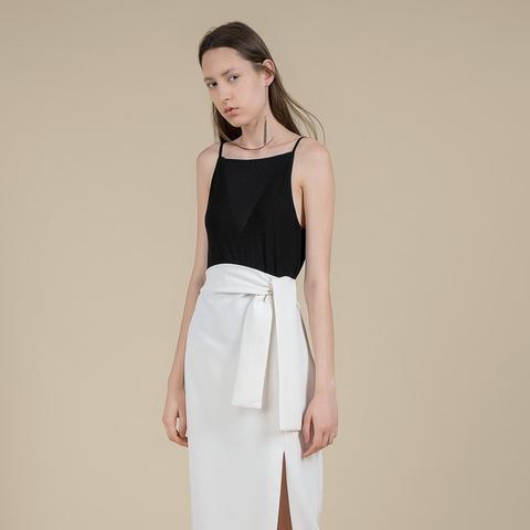 Belted High Waist Midi Skirt