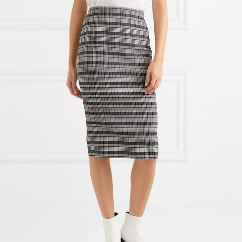 Checked Woven Pencil Skirt