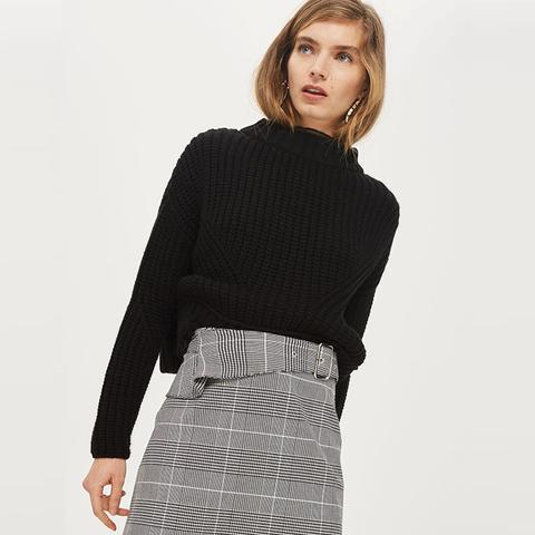 Checked Buckle Peplum Mini Skirt