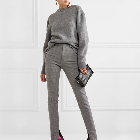 Plaid Wool-Blend Skinny Pants