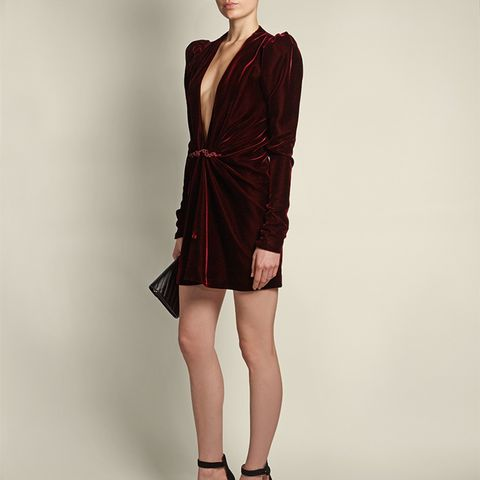 Deep V-Neck Gathered-Detail Velvet Mini Dress