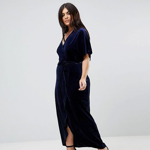 Velvet Wrap Over Maxi Dress