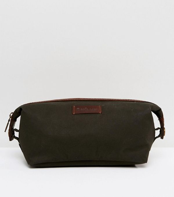 Beauty gifts for men: Barbour Drywax Convertible Wash Bag in Olive