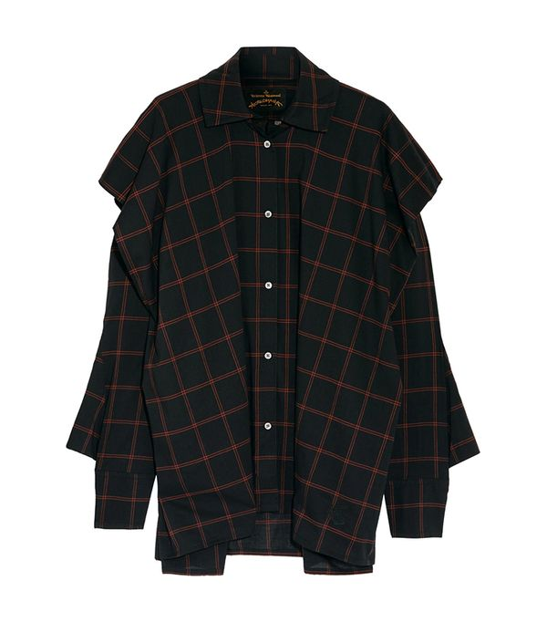 Fever Oversized Checked Cotton-blend Voile Shirt