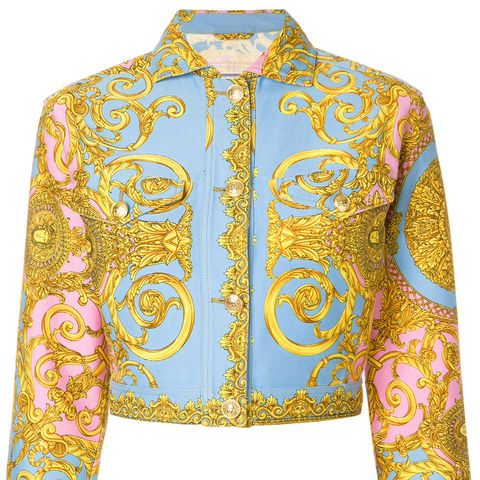 Cropped Baroque Print Jacket